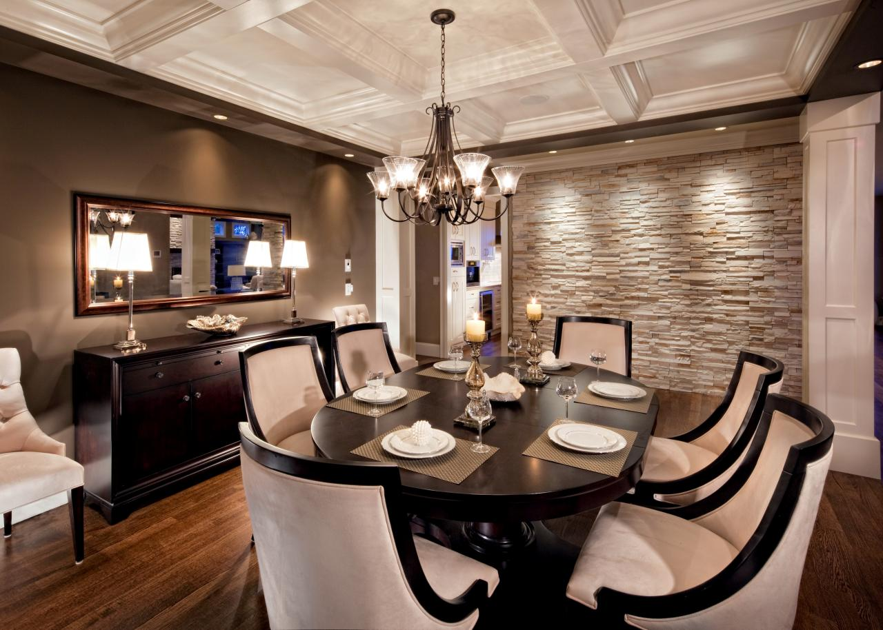 Stone wall in dining